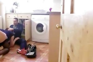 british lady in nylons bonks workman on kitchen
