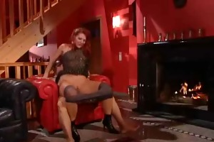 mature doxy in dark nylons with fiery red hairs