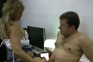 sexy applicant gives horny boss a quick tugjob