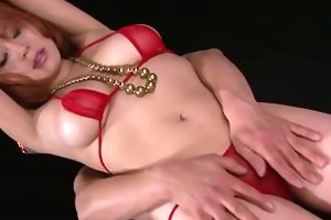 busty hottie in constricted red bikini stripping