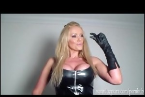 smack sexy breasty blond latex domina taut soaked