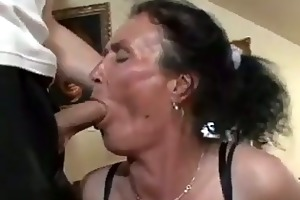 breasty brunette hair granny gets wicked cunt