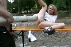 blonde d like to fuck screwed with a tree trunk