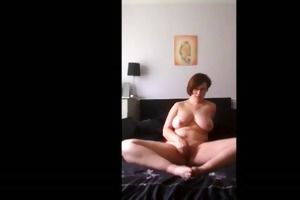obese angel plays with her shaven wet crack