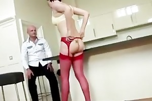 older british lady shows off her red nylons