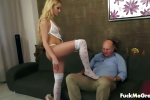 cute golden-haired chick for old man