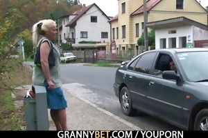 young fellow picks up and bangs lonely granny
