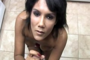 filthy wife gives a handjob during the time that