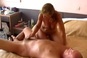 sexually excited wife jerks off hubbys jock
