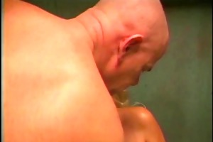 shaved boy licks and copulates the taut cunt on