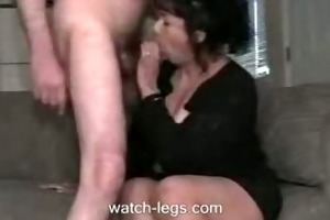 old wife blowing penis at home