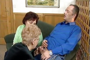 bawdy golden-haired housewife sucks on an hard