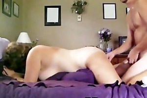 pretty aged gives blow job and gets from behind