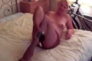 sexy older lady hose tease handjob