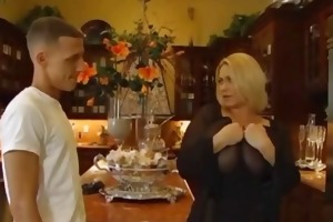 excited big beautiful woman blonde receives