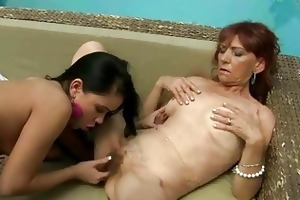 bushy granny enjoys lesbo sex with legal age