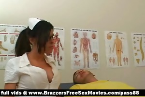 delightful golden-haired nurses receive a oral