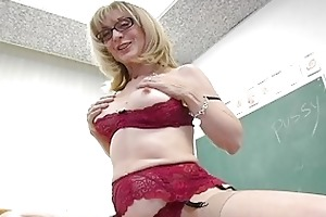 lusty blond older teacher toying her bawdy cleft