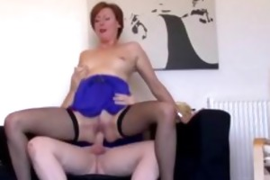 aged european chick in nylons gives guy a