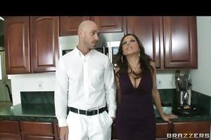 big-boobed brunette hair milfs share a big-dick