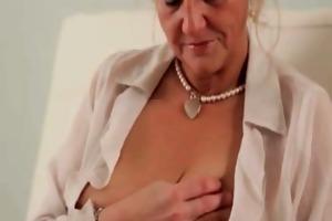 horny granny in nylons masturbating