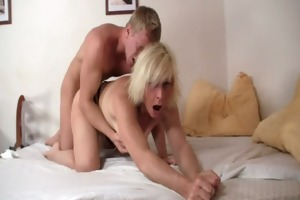 aged blond takes it is from behind