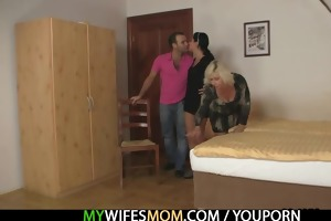 blond mama seduces her son in law
