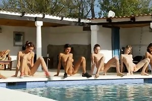 six stripped girls by the pool from france
