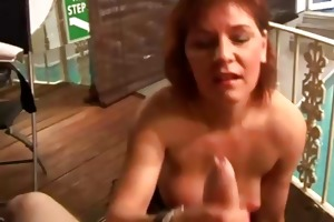 older lady tugs rod and gets spunk flow from