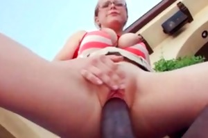 black guy and golden-haired mama in hardcore