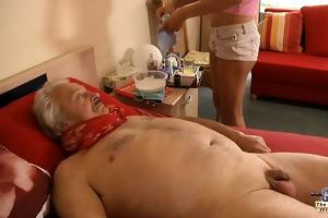 sexy, juvenile nurse copulates horny, sick grandad