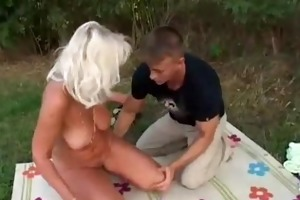 romanian unshaved granny with juvenile boy