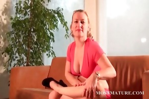 lusty mom teasing body with a banana