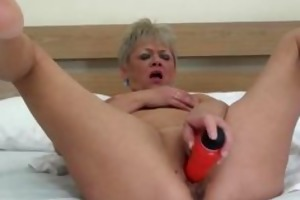 sexually excited golden-haired aged housewife