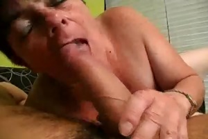 finger team-fucked and pounder engulfing granny