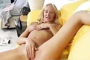 breasty excited mamma plays with her bawdy cleft