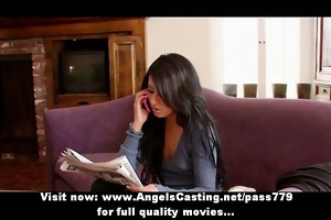 sexy brunette hair gal has fur pie licked by