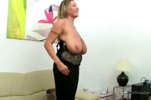 older model fucking on leather ottoman