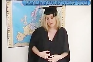 obese teacher in uniform with black nylons with