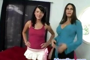 hawt mommy and lustful daughter go to a porn