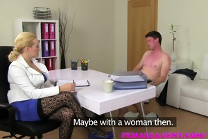 femaleagent breasty golden-haired agent acquires