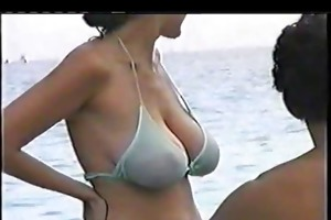 sexy large tit mamma at the beach
