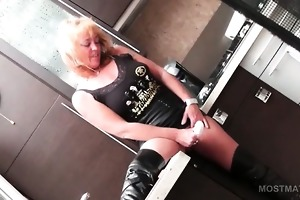 older blond into leather fetish vibing excited