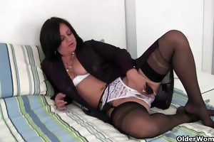 hard nippled abigale wears nylons and crotchless
