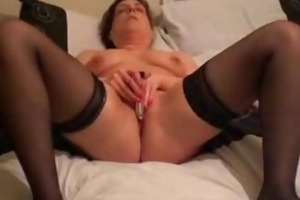 concupiscent wife toying her slit with toys