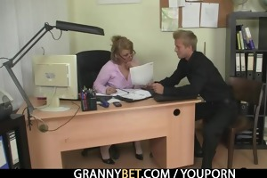 sexy office sex with older lady