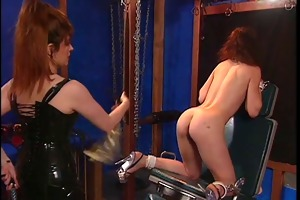 redhead receives bawdy cleft whipped and clamped