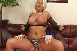 breasty aged blond in darksome fishnet brassiere