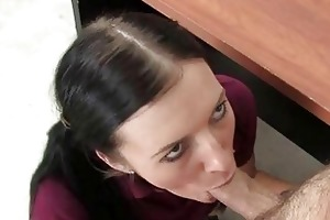 girl serves a aged ramrod