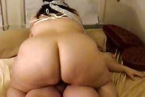 fat wife sucks copulates with fastened up breasts